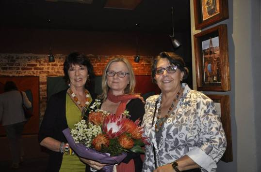 Sally Scott, Gina Niederhumer and Odette Toksdorf at the opening of 'Double Vision'